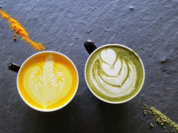 Turmeric Chai and Green Matcha.