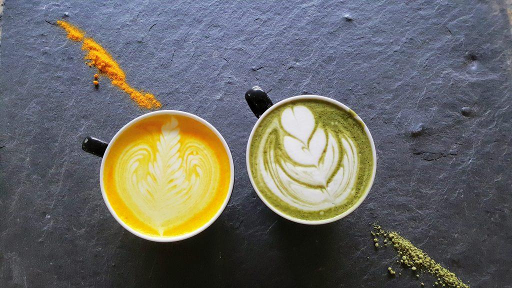 Turmeric Chai and Green Matcha.